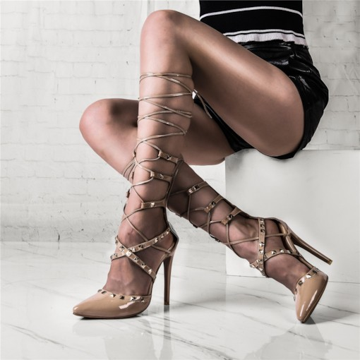 Customized Pointed Toe Zipper Lace Up Rivet Sandals
