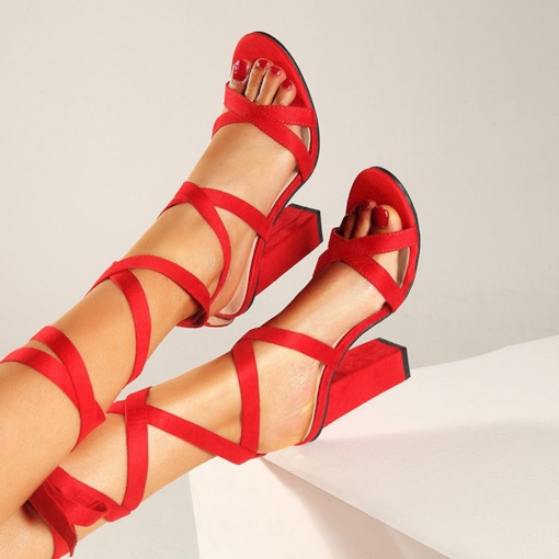 Lace-Up Chunky Heel Open Toe Ankle Strap Plain Sandals