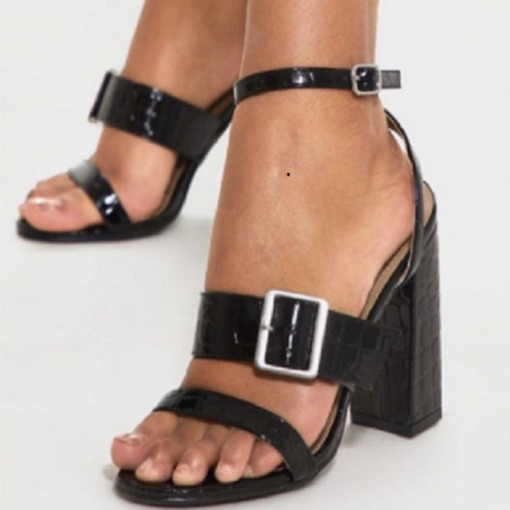 Open Toe Ankle Strap Chunky Heel Line-Style Buckle Sandals