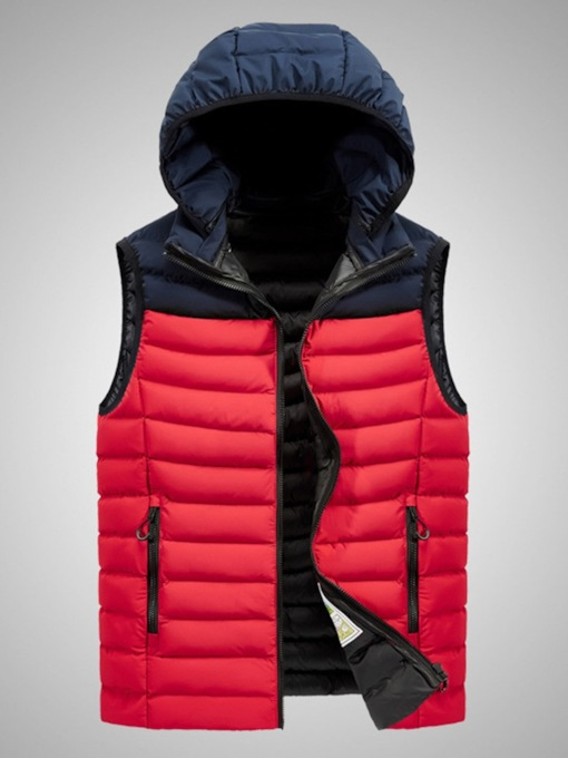 Thick Style Patchwork Color Block Casual Men's Waistcoat