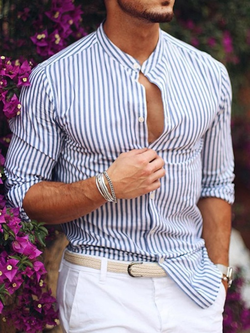 Stripe Stand Collar Casual Style Men's Shirt