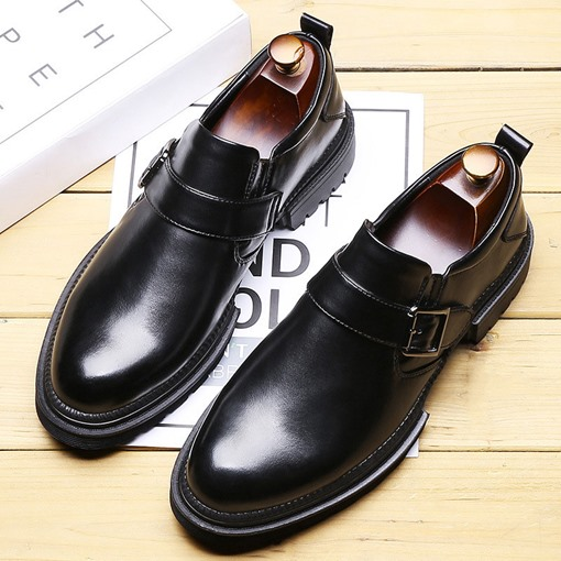 Slip-On Plain Round Toe Men's Leather Shoes