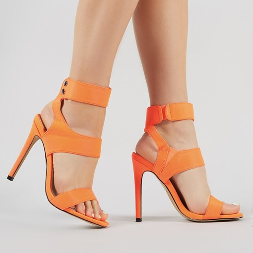 Open Toe Stiletto Heel Ankle Strap Velcro Casual Sandals
