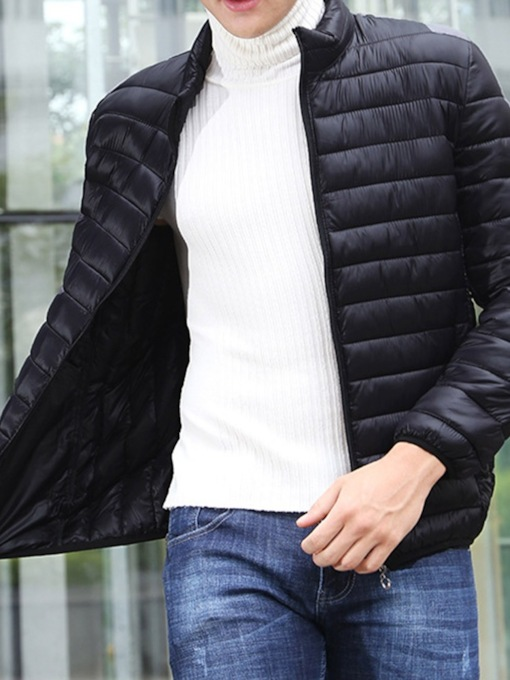 Plain Stand Collar Style Casual Men's Down Jacket
