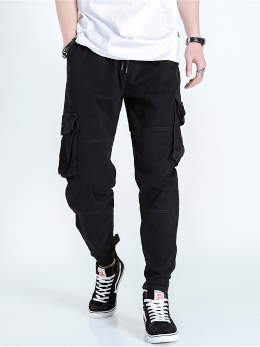 Pocket Plain Color Overall Mid Waist Men's Casual Pants