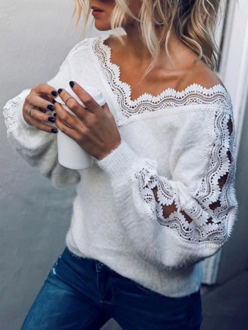 Lantern Sleeve Ladylike Patchwork Regular Loose Women's Sweater