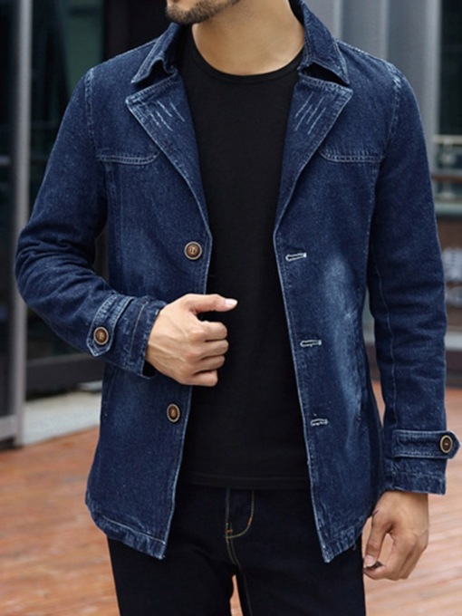 Lapel Thick Style Plain Slim Men's Jacket