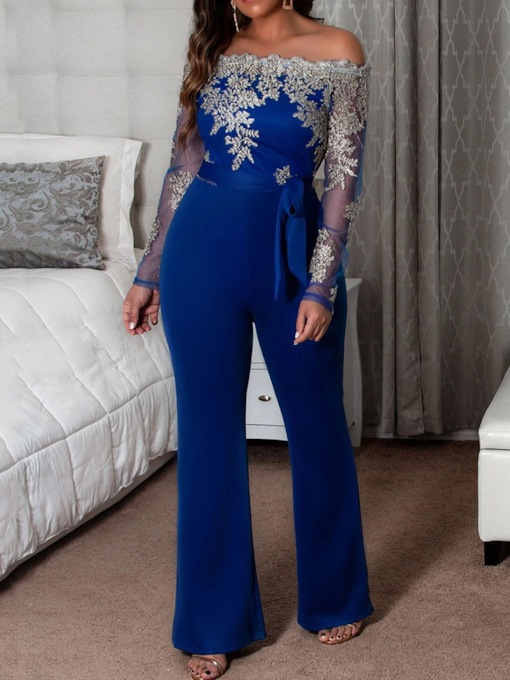 Sexy Patchwork Full Length Slim Women's Jumpsuit