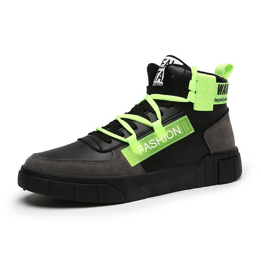 Color Block Lace-Up Round Toe Chic Men's Skate Shoes
