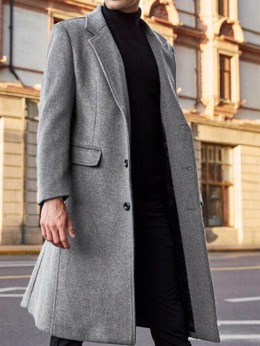 Long Style Plain Notched Lapel England Men's Coat