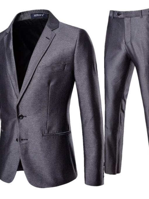 Plain Color Single-Breasted Casual Men's Dress Suit