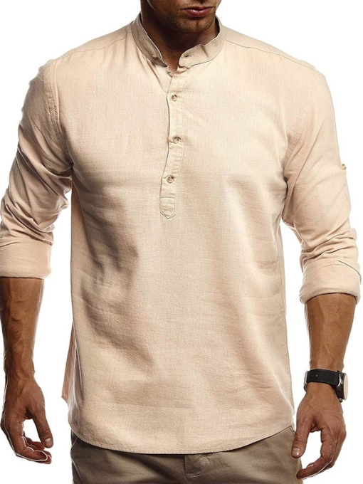 Stand Collar Casual Style Plain Men's Shirt