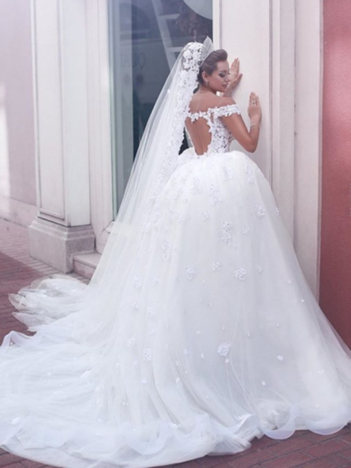 Ball Gown Off-The-Shoulder Beading Wedding Dress 2020