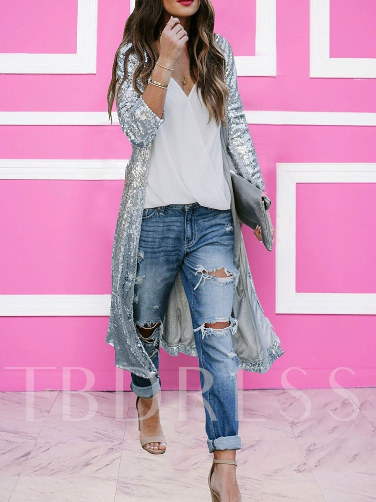 Sequins Fashion Long Casual Women's Trench Coat