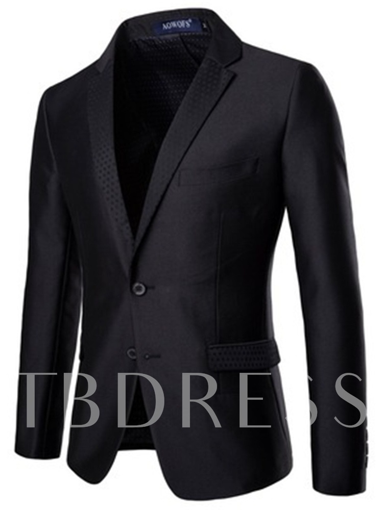 Single-Breasted Plain Formal Blazer Men's Dress Suit