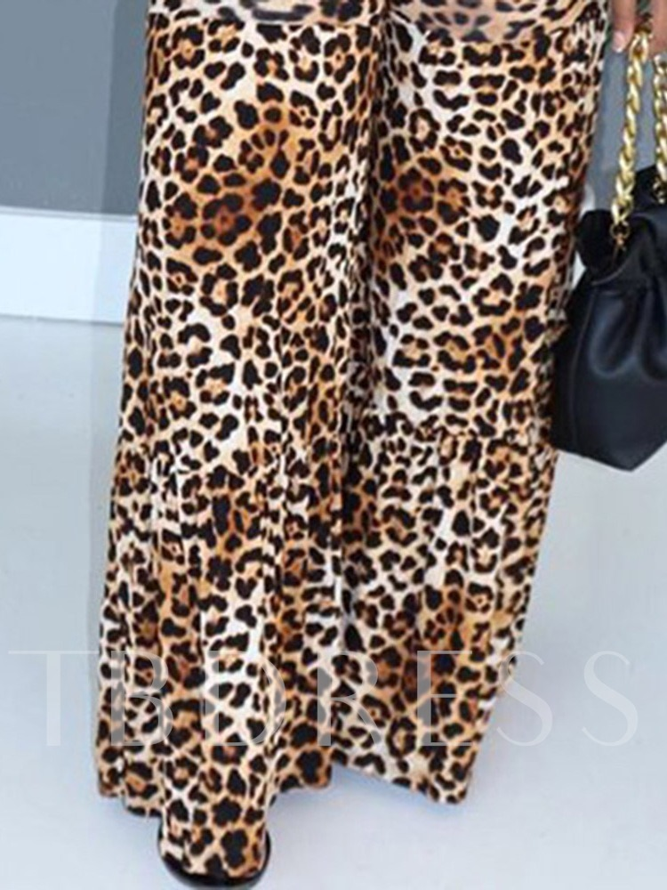 Casual Leopard Pullover Short Sleeves Women's Two Piece Sets