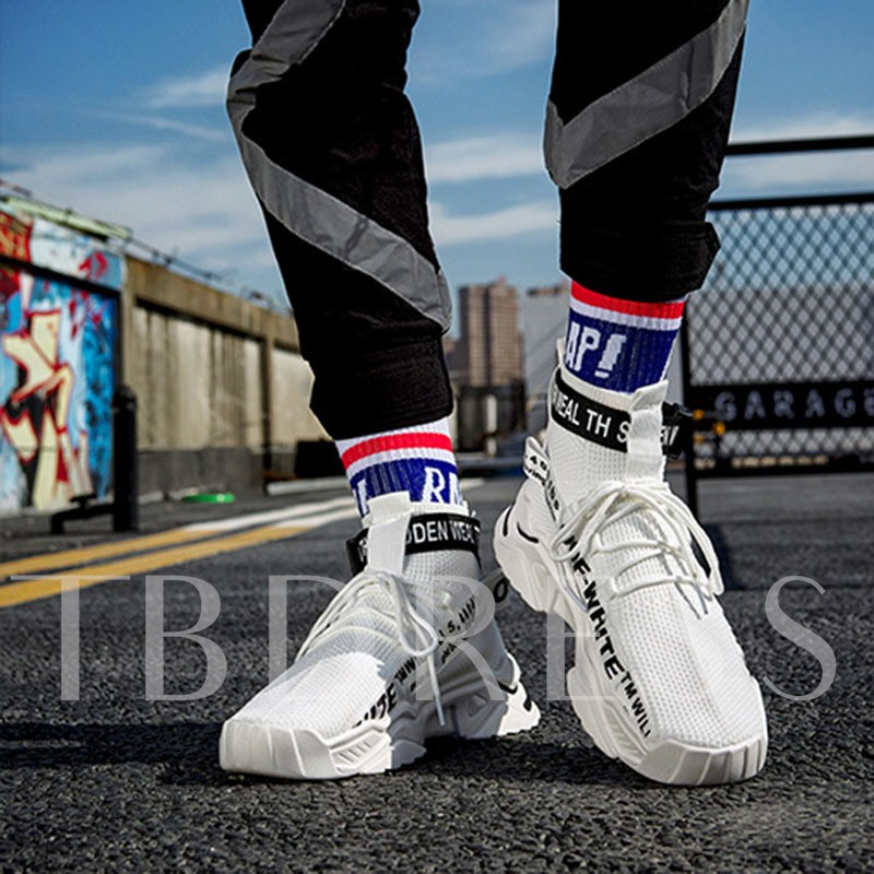 High Top Mesh Sports Lace-Up Round Toe Men's Sneakers