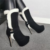 Round Toe Slip-On Customized Fluff Ankle Boots
