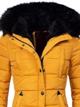 Patchwork Thick Zipper Fur Hooded Slim Mid-Length Women's Cotton Padded Jacket