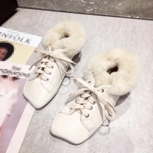 Square Toe Lace-Up Lace-Up Winter Flats