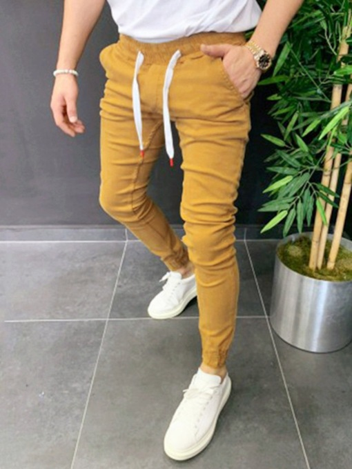 Pencil Pants Plain Mid Waist Men's Casual Pants
