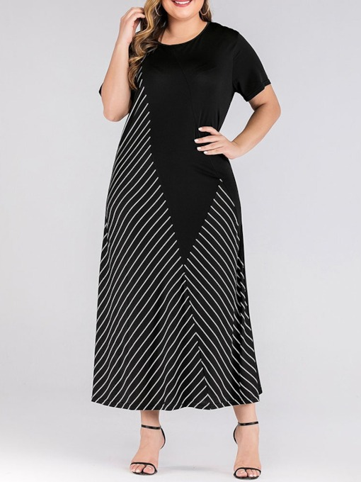 Plus Size Print Short Sleeve Mid-Calf Date Night/Going Out Women's Dress