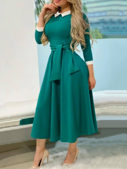 Three-Quarter Sleeve Peter Pan Collar Mid-Calf Patchwork Mid Waist Women's Dress