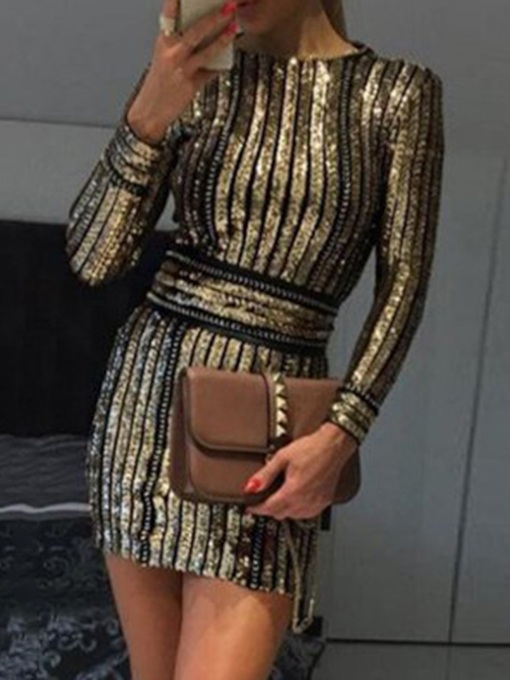 Sequins Long Sleeve Above Knee Round Neck Spring Women's Dress