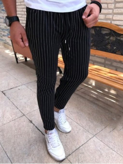 Pencil Pants Stripe Mid Waist Men's Casual Pants