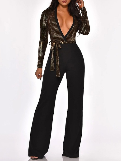 Full Length Casual Slim Lace-Up Women's Jumpsuit