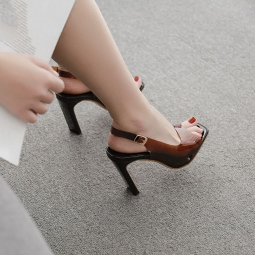 Buckle Peep Toe Chic See Through Sandals