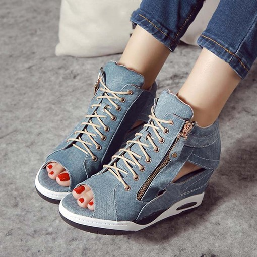 Peep Toe Zipper Wedge Heel Casual Denim Sandals