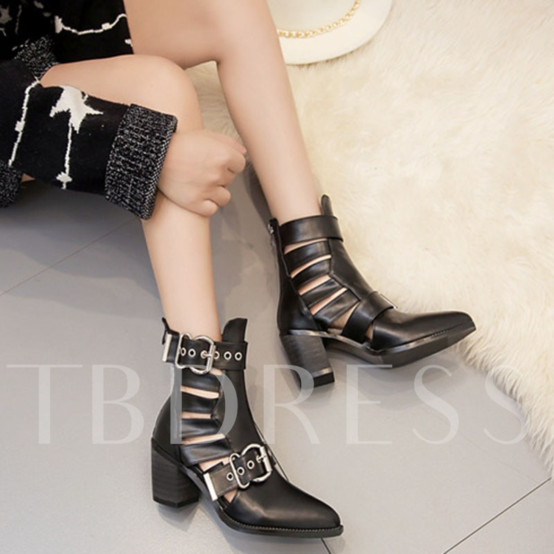 Chunky Heel Back Zip Pointed Toe Hollow Boots