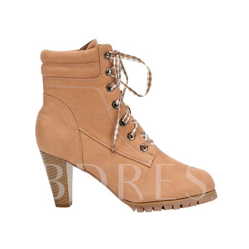 Vintage Round Toe Lace-Up Front Ankle Boots