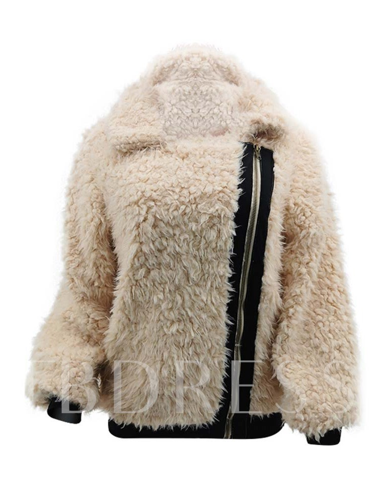 Straight Plush Zipper Thick Standard Women's Jacket