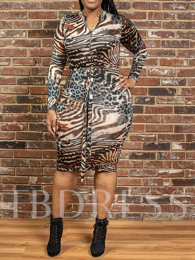 Plus Size Print Stand Collar Long Sleeve Knee-Length Mid Waist Women's Dress