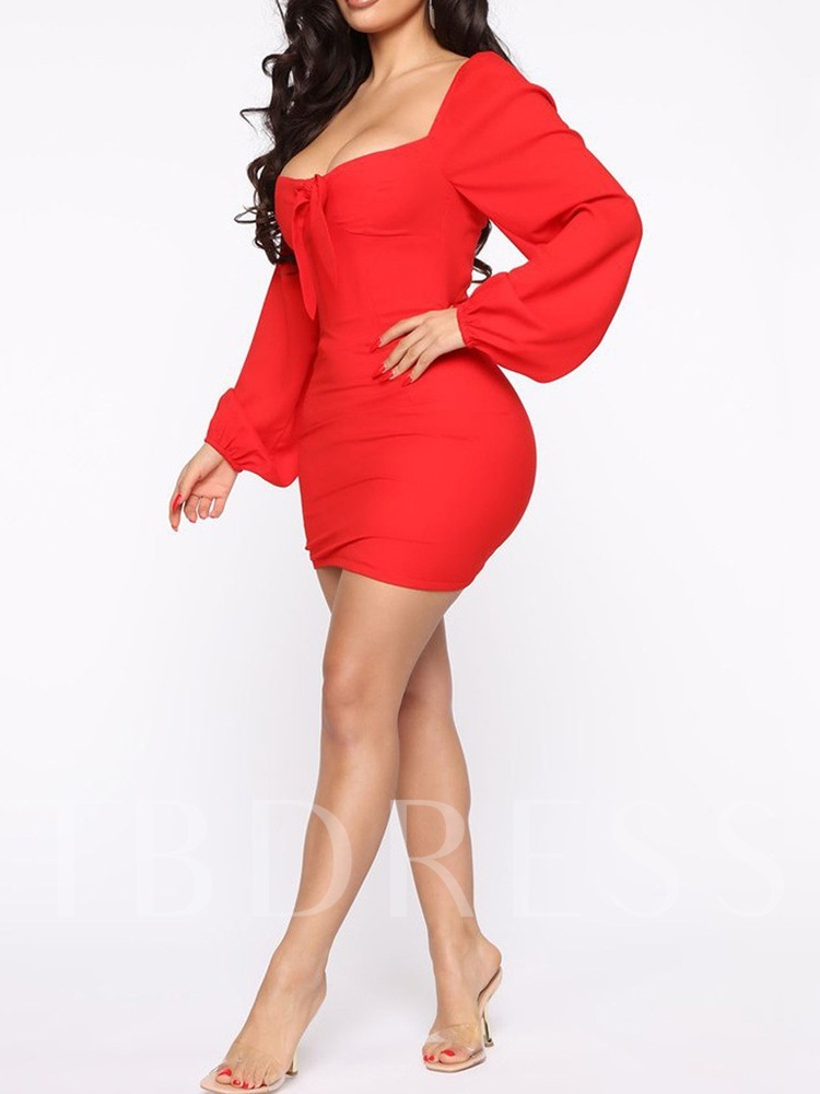 Square Neck Above Knee Long Sleeve Lace-Up Sexy Women's Dress