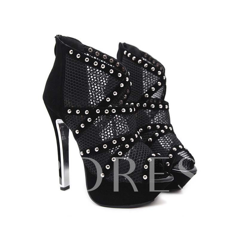 Peep Toe Stiletto Heel Zipper Zipper Sexy Pumps