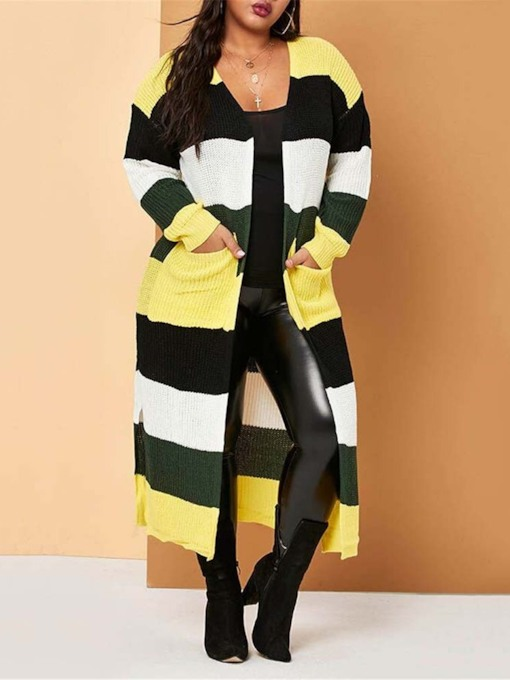 Regular Color Block Long Women's Cardigan