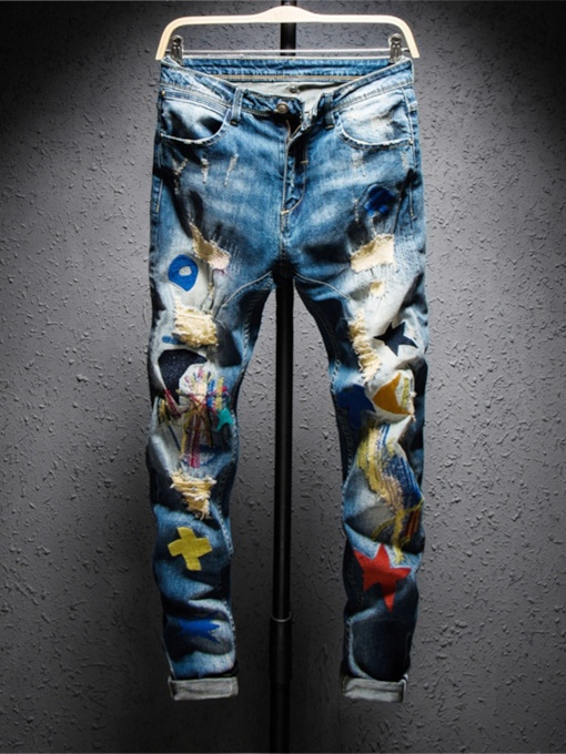 Geometric Embroidery Pencil Pants Casual Men's Jeans