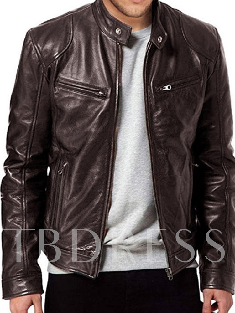Standard PU Stand Collar Plain Men's Leather Jacket
