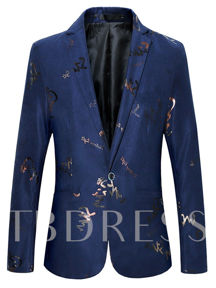 Notched Lapel Letter Slim Fashion Men's leisure Suit