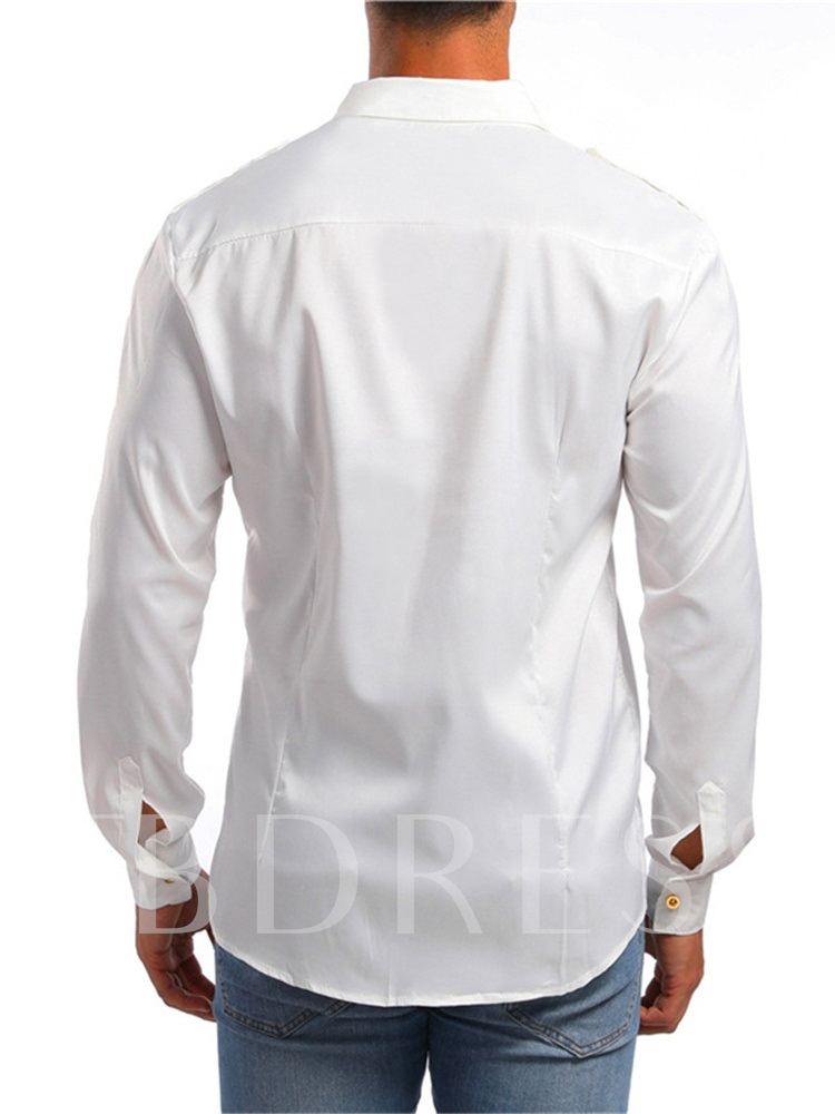 Office Casual Lapel Plain Men's Shirt