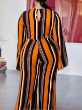 Plus Size Stripe Print Full Length Slim Women's Jumpsuit