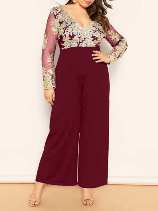 Full Length Sweet Embroidery Floral High Waist Women's Jumpsuit
