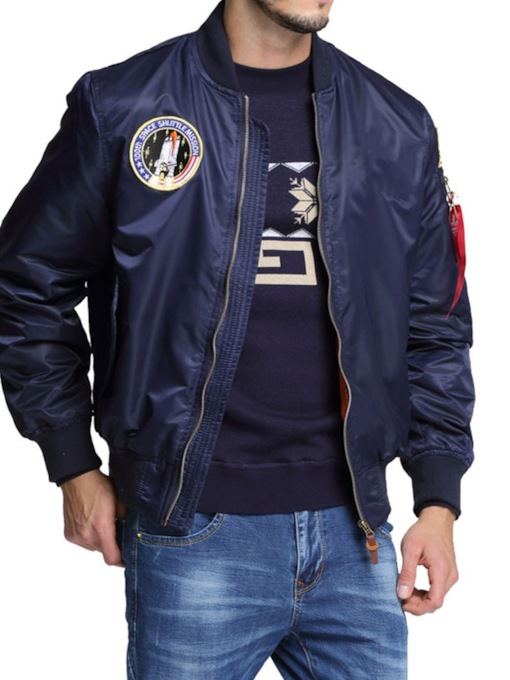 Stand Collar Appliques European Men's Jacket