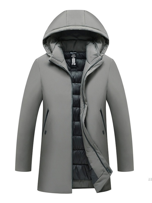 Plain Mid-Length Casual Men's Down Jacket
