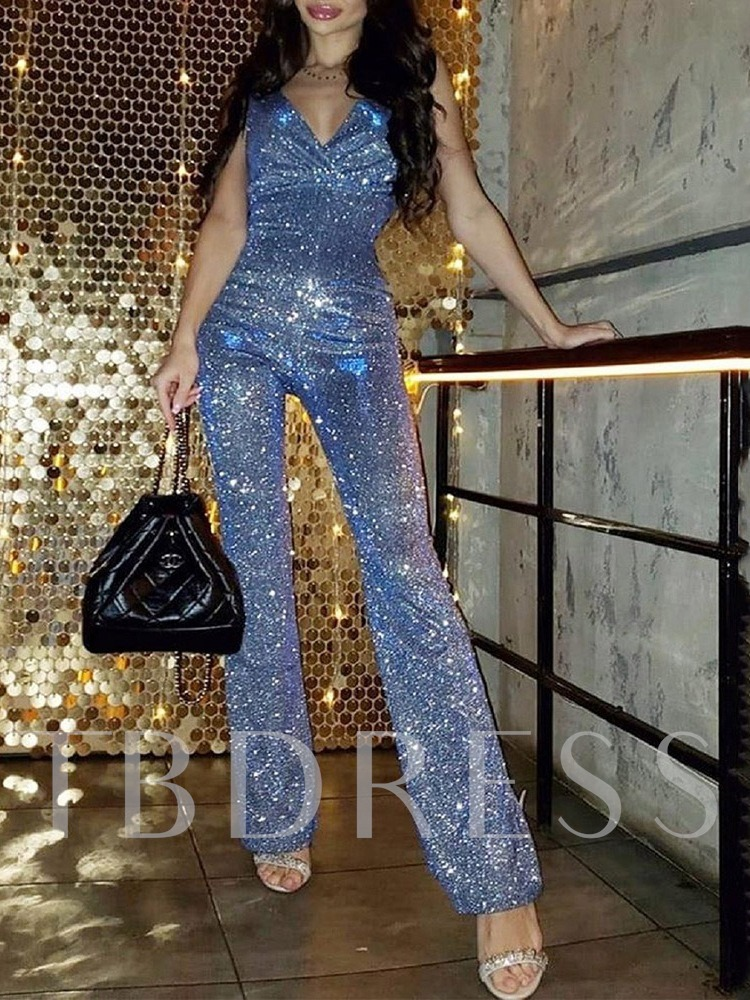 Plain Full Length Sequins Sexy Straight Women's Jumpsuit