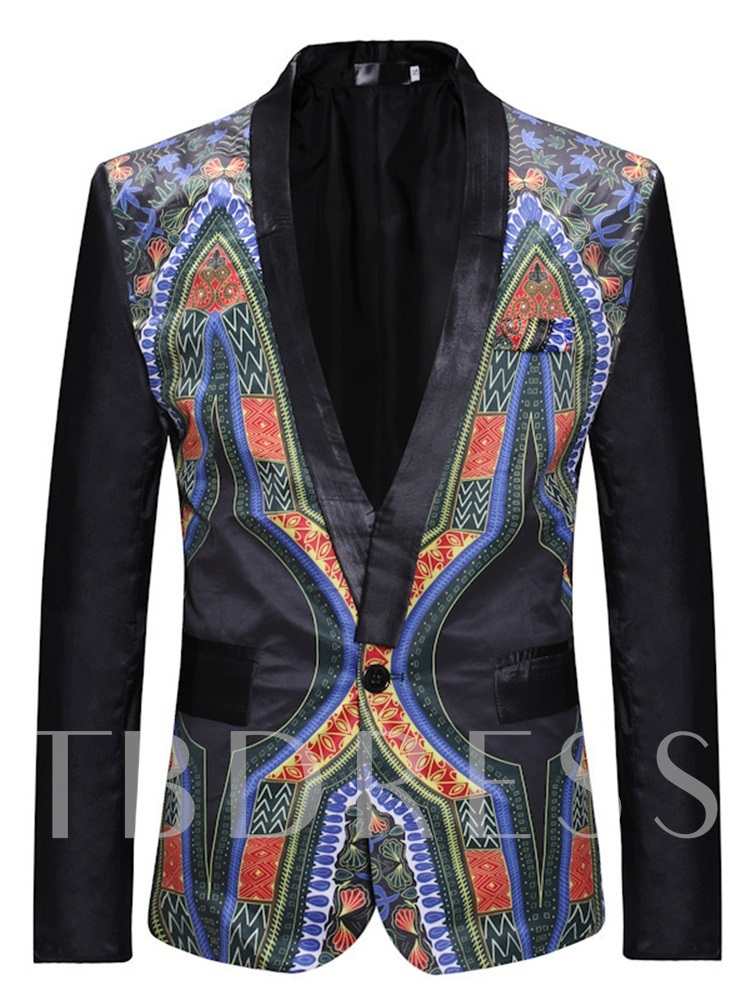 Geometric Fashion One Button Slim Men's leisure Suit