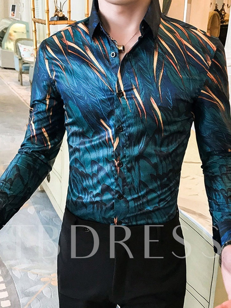 Lapel Print Fashion Slim Men's Shirt